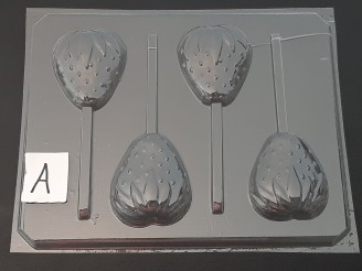 1502 Strawberry Chocolate Candy Lollipop Mold FACTORY SECOND
