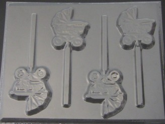 4209 Baby Carriage Chocolate or Hard Candy Lollipop Mold