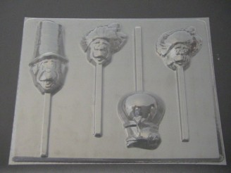 349sp Cat with Hat Friends Chocolate or Hard Candy Lollipop Mold