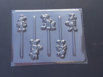 123sp Famous Male Female Mouse Dog Chocolate or Hard Candy Lollipop Mold