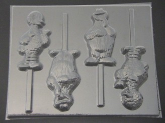 128sp Yellow Chicken and Cracker Monster Chocolate or Hard Candy Lollipop Mold