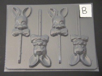 807 Bucked Tooth Bunny Chocolate Candy Lollipop Mold  FACTORY SECOND