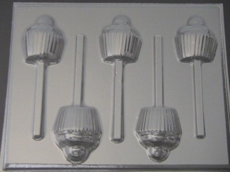 1516 Cupcake Chocolate or Hard Candy Lollipop Mold