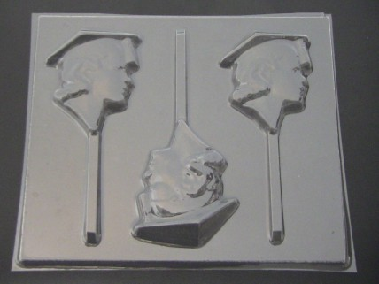 1900 Female Graduate Face Chocolate or Hard Candy Lollipop Mold  IMPROVED