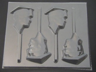 1901 Male Graduate Face Chocolate or Hard Candy Lollipop Mold  IMPROVED