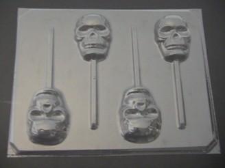 2428 Skulls Chocolate or Hard Candy Lollipop Mold