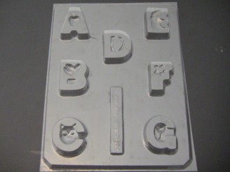 8016 Letters A-G Blocks Chocolate Candy Mold