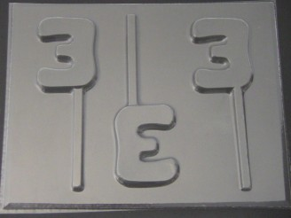 8013 Number Three Chocolate or Hard Candy Lollipop Mold