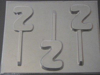8012 Number Two Chocolate or Hard Candy Lollipop Mold