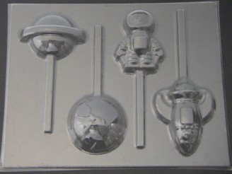 3550 Earth Saturn Astronaut Rocket Chocolate or Hard Candy Lollipop Mold