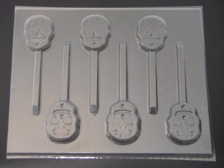 3555 Sugar Skulls Day of the Dead II Chocolate or Hard Candy Lollipop Mold