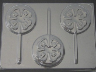721 Four H Clover Chocolate or Hard Candy Lollipop Mold