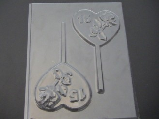 8505 Rose Heart Sweet 15 Chocolate or Hard Candy Lollipop Mold