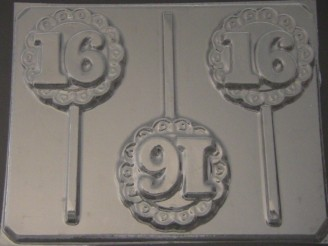 8516 Sweet 16 Lacy Round Chocolate Candy Lollipop Mold