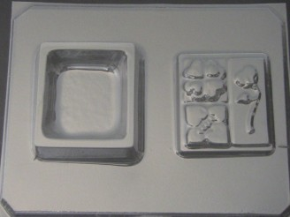923 Square Pour Box Hearts Lid Chocolate Candy Mold