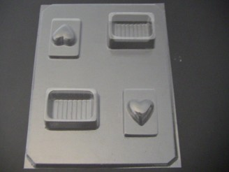 924 Rectangle Pour Box Heart Lid Chocolate Candy Mold