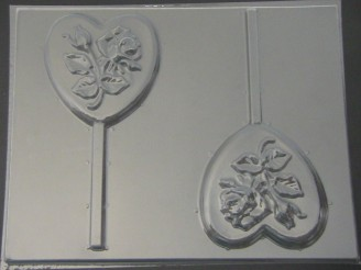 910 Heart with Rose Chocolate or Hard Candy Lollipop Mold