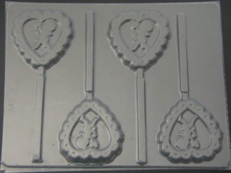 911 Heart with Cherub Chocolate or Hard Candy Lollipop Mold